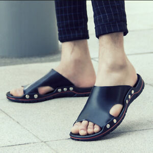 Mens Flat Fashion Leisure Summer Leather Slippers Hollow Beach Shoes Slip On