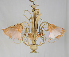 LAMPADARIO LED AVORIO ANTICO CLASSICO ART.574 FERRO FORGIATO VETRO MADE IN ITALY