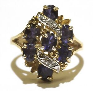 925 Sterling Silver gold plated .01ct I3 H diamond amethyst gemstone ring 5.2g