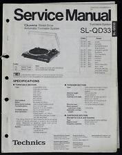 Technics SL-QD33 Original Turntable System Service Manual/Diagram/Parts o185