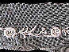 Rare French Dense Dimentsional Whitework Embroidery On Silk Tulle~Normandy Lace