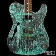 Neu James Trussart Deluxe Steelcaster Gitarre Titanic Grün Bambus Semi Hohl