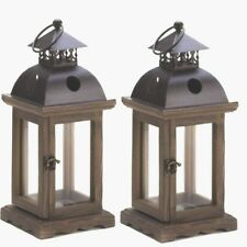 """2 Rustic Wood Lantern Small Candle Holder Wedding Centerpieces 12"""" Tall"""