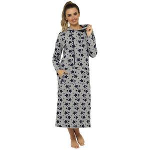 Ladies Long Length Hooded Star Print Lounge Nightdress / Lounge Top  Long Hoodie