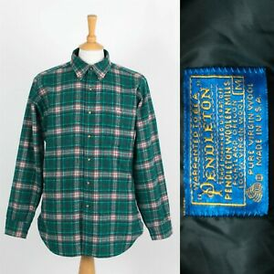 MENS VINTAGE PENDLETON WOOL SHIRT MADE IN THE USA FLANNEL STYLE ROCKABILLY M