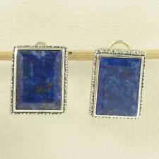 Sterling Silver .925 Natural Blue Lapis Lazuli 11x16mm Omega Clip Earrings TPJ