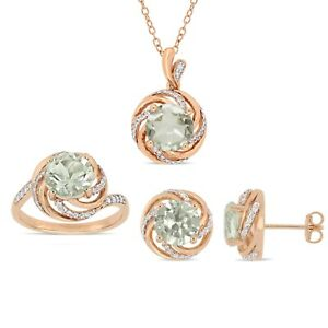 Amour Rose Plated Silver Green Amethyst, White Topaz & Diamond Halo Jewelry Set