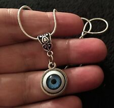 Eye Necklace Eyeball Cameo Cabochon Charm Lucky Protection Gothic Horror Unusual