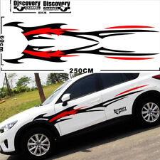 2X Car Truck SUV Body Sides Decal Vinyl Stickers Sports Styling Glossy Black+Red