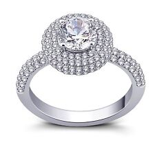 Brilliant cut Round Cubic Zirconia Solitaire Ring Pave Set And Rhodium Plated