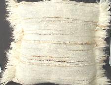 Mohair Cushion Cover Natural Cream Handwoven Textured 14x14 Angora