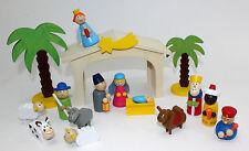 CUNA MADERA 16 piezas Juego NACIMIENTO Madera Navidad Geschichte Navidad Niños