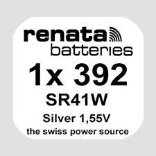 1x Renata 392 Uhren-Batterie Knopfzelle SR41W AG3 Silberoxid Blisterware Neu