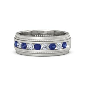 Real Sapphire 0.6 Ct Diamond Men's Ring Solid 18K White Gold Milgrain Crown Band