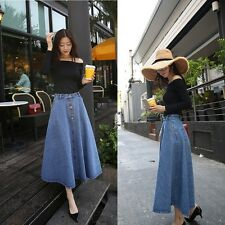 Denim Unbranded Long Solid Skirts for Women | eBay
