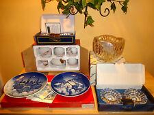 Lot  Crystals Rose Bowl ,Rose Garden Porcelain, Crystal Candleholder, Plates