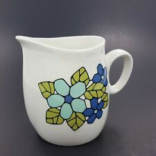 Vintage 60's Franciscan Cantata Whitestone Ware Creamer Blue Green Flowers Japan
