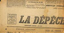 PRESSE NEWSPAPER JOURNAL LA DEPECHE DE LYON DU 12 NOVEMBRE 1917