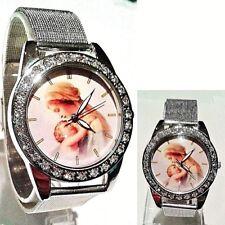 Chaoyada Women Big 40mm Madonna Virgin Mary Silver steel mesh Analog Wrist watch