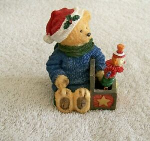 Bear with jack-in-the-box Christmas figurine no markings excellent condition