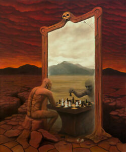 Mirror Chess ORIGINAL HANDMADE OIL PAINTING Gothic Fantasy Surrealism 30 x 36