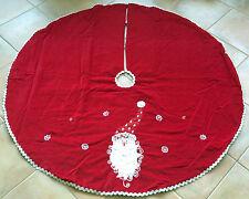 """Red Velvet Santa Christmas Tree Skirt - 52"""" Diameter - Free Shipping*"""