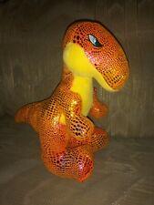 "Kellytoy Dinosaur Plush 11"" Dino Orange Metallic Shiny Stuffed Animal Yellow..."