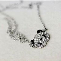 Hot Sale Lovely Glitter Rhinestone Panda Cute Necklace Chain For Girls Womens CN
