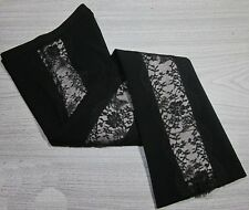 EARLY GIANNI VERSACE BLACK WOOL/SPANDEX FLARED LACE CUT OUT FLARED PANTS  40/4