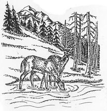 Unmounted Rubber Stamps, Wildlife, Mountain Stream Scene, Scenic, Deer Drinking