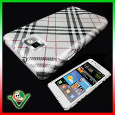 Pellicola+Custodia cover per Samsung i9100 Galaxy S2 rigida PLAID SILVER Nuova