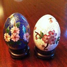 Cloisonne Eggs. Stand Included. White & Delicate Pinks, Deep Blue & Pink.