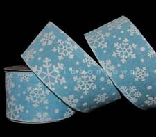 """10 Yards Christmas Sparkly Snowflakes Winter Blue Wired Ribbon 2 1/2""""W"""
