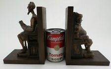 Vintage Bookends Don Quixote & Sancho Panza Wood Carved Spain - Ouro Artesania