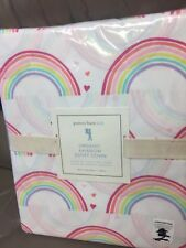 NEW Pottery Barn Kids Multi-Color ORGANIC RAINBOW Twin Duvet Cover White GIRLS