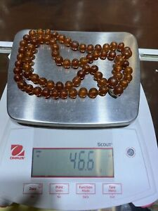 """Antique Baltic Amber Sterling Necklace Beads 46.6G 30"""" 11mm"""