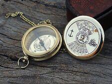 Antique Calendar Compass Brass Robert Frost Poem Compass Nautical Compass W/Cas