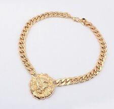 Punk Women Gold Lion Head Pendant Chain Choker Collar Bib Necklace Jewelry