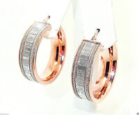 9CT ROSE GOLD PLATED 925 HALLMARKED SILVER MOONDUST SPARKLE 25MM HOOP EARRINGS