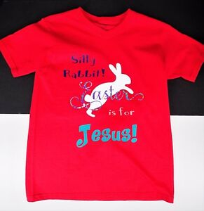 Youth Medium 8 Silly Rabbit Easter is for Jesus V Neck T Tee Shirt