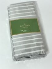 Kate Spade Harbour Drive Stripe Platinum Silver White Set of 4 Napkins New
