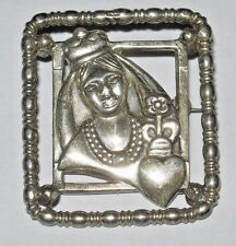 HTF McClelland Barclay Queen of Hearts Ornate Sterling Silver Pin Brooch Signed