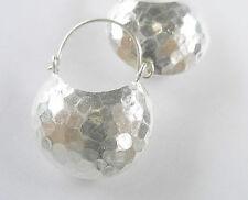 Karen Hill Tribe Silver 1 pair Hammered Half Moon Hoop Drop Earrings.