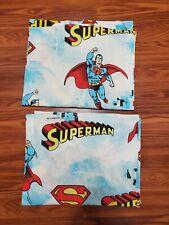 "Vintage Lot of(2) 1978 SUPERMAN Sears Perma Press Pleated Curtains 62""x40""x23"""