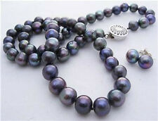 """8-9mm Real Natural Black Akoya Cultured Pearl Hand Knotted Necklace Earrings 18"""""""