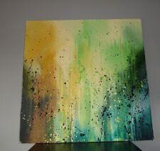 Tableau abstrait en jaune et vert 60 x 60 cm - Painting