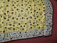 TRUE VINTAGE 100% COTTON YELLOW / BROWN GEOMETRIC PATTERNED SCARF
