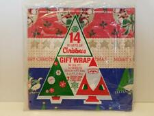 "Vtg Christmas Gift Wrap Sheets NIP NOS 7 Designs 14 sheets 20"" x 26"" 1970s 1980s"
