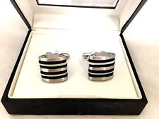 $75 Geoffrey Beene Mens Silver Stripe Cufflinks Formal Wedding Dress Wrist Cuffs