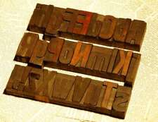 "A-Z alphabet 2.13"" letterpress wooden printing blocks wood type Vintage printer"